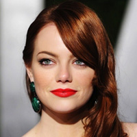 Emma Stone with glamorous brown hair