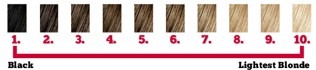 A hair color level chart ranging from 1 to 10
