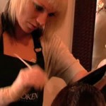Hair colorist removing hair color