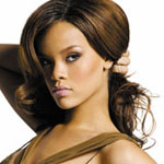 Rihanna with dark brown long hair