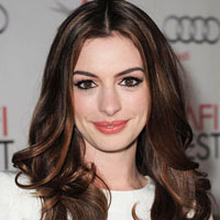 Anne Hathaway with brown hair color