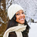 woman with black hair in the snow