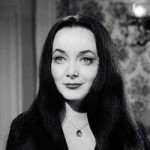 Morticia Adams with long black hair