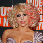 Lady Gaga with a hint of pink in blonde hair