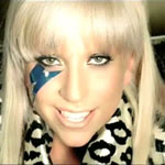 Lady Gaga with blonde hair in just dance video