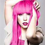 Lady Gaga with bright pink hair