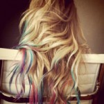Blonde hair with dip dyed color