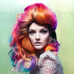 Woman with multi color hair in jewel tones