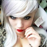 Pale girl with platinum white hair