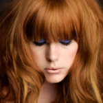 Girl with auburn fringe