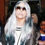 Lady Gaga with mixed gray and black hair