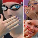 British, Danish and Cuban athletes with patriotic nail art